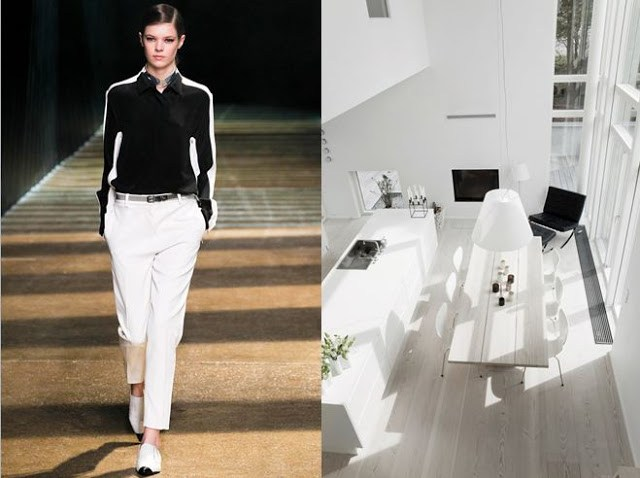 On the left there is a model from Phillip Lim's Fall 2012 Ready to wear show, on the right there is an image of a completely white kitchen taken from above with black accents from a computer and a tv