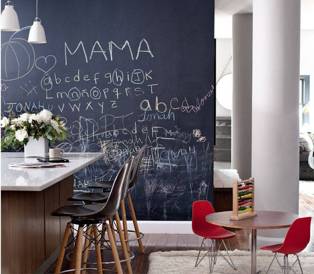 chalk board wall with child's handwriting all over it in kitchen