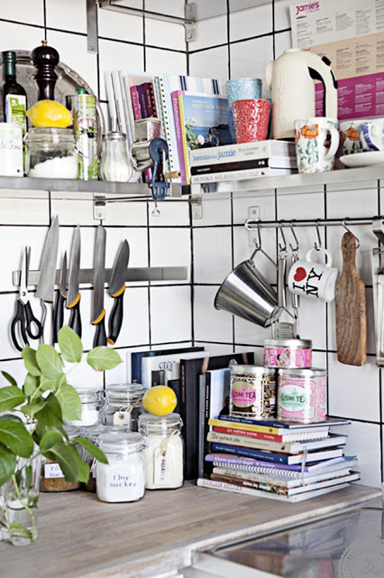 white tiles black grout floating stainless steel shelves shelving kitchen magnetic magnet knife rack knives