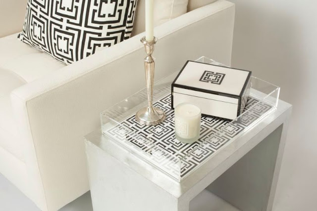 COCOCOZY Lucite Tray in black and white