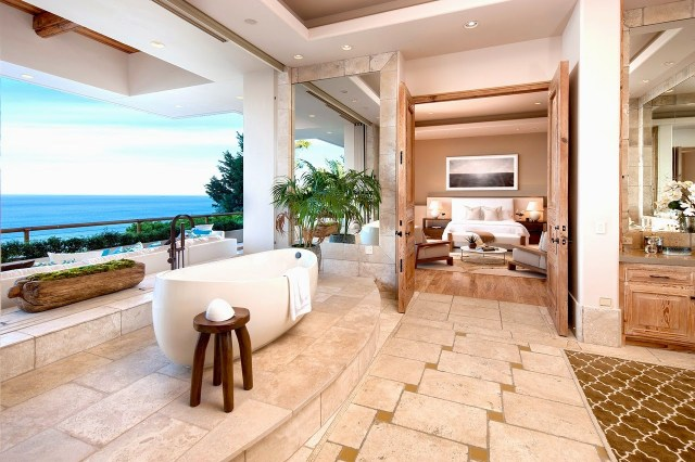 Master bathroom in a multi million dollar Malibu home with ocean view