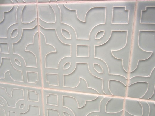 Close up of Michael S. Smith's Labyrinth tiles for Ann Sacks
