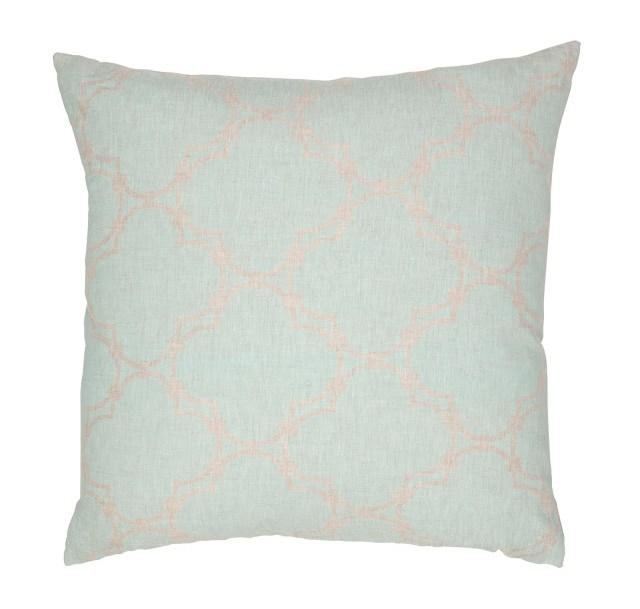 COCOCOZY Quatrefoil Reverse Natural Linen Pillow Cover in Sea Foam