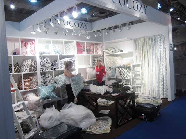 Packing up all the pillow cases in the COCOCOZY booth at New York International Gift Fair