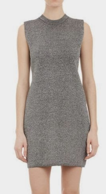 Metallic silver sweater dress