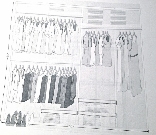 Organized closet design rendering