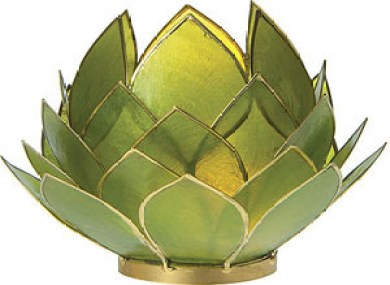 Capiz Lotus Candle Holder made of natural shells from Luna Bazaar