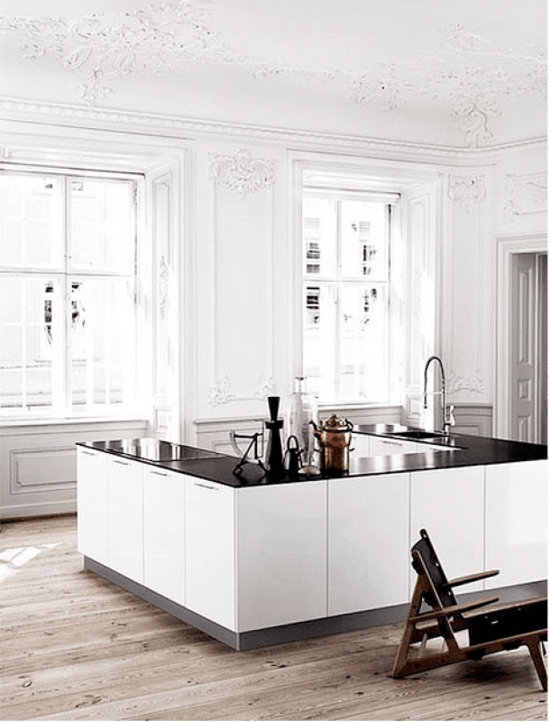 Black and white kitchen with aged wood floors