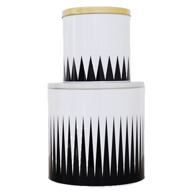 storage tin ferm living black white spire yellow trim