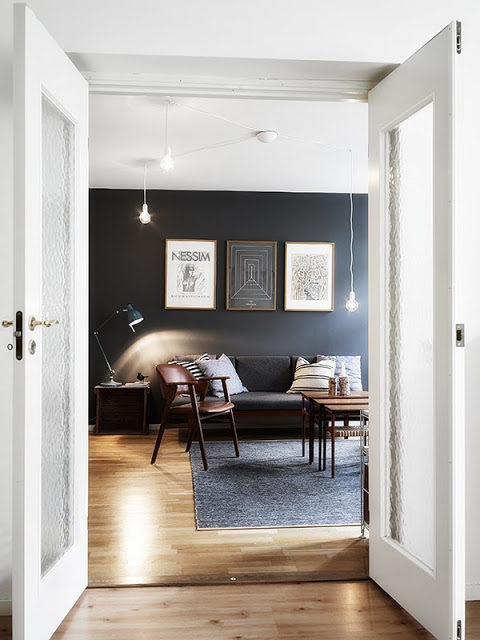 double glass french interior doors den living room charcoal gray wall apartment home decor