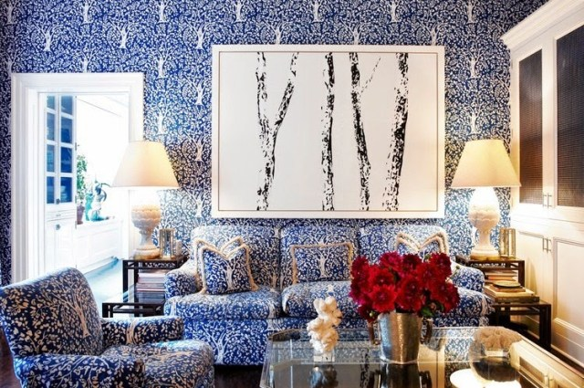 tory burch den new york city apartment blue print walls