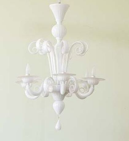Opaque white Murano glass chandelier