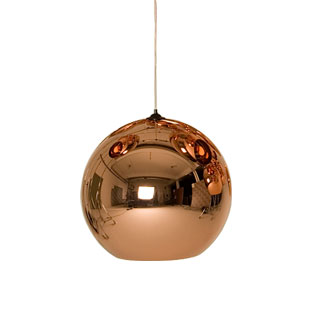 Copper pendant light from moss