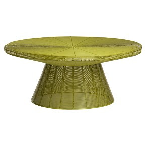 Electric lime Platner coffee table replica from CB2