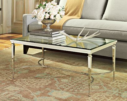 Polished nickel plate frame and tempered glass top coffee table from William Sonoma Home