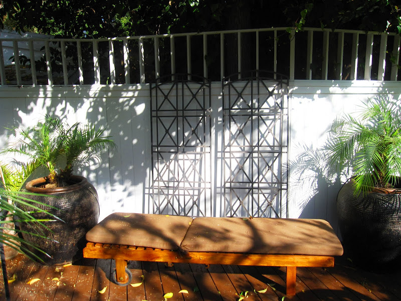 Teak lounge furniture on a deck in the Hollywood Hills