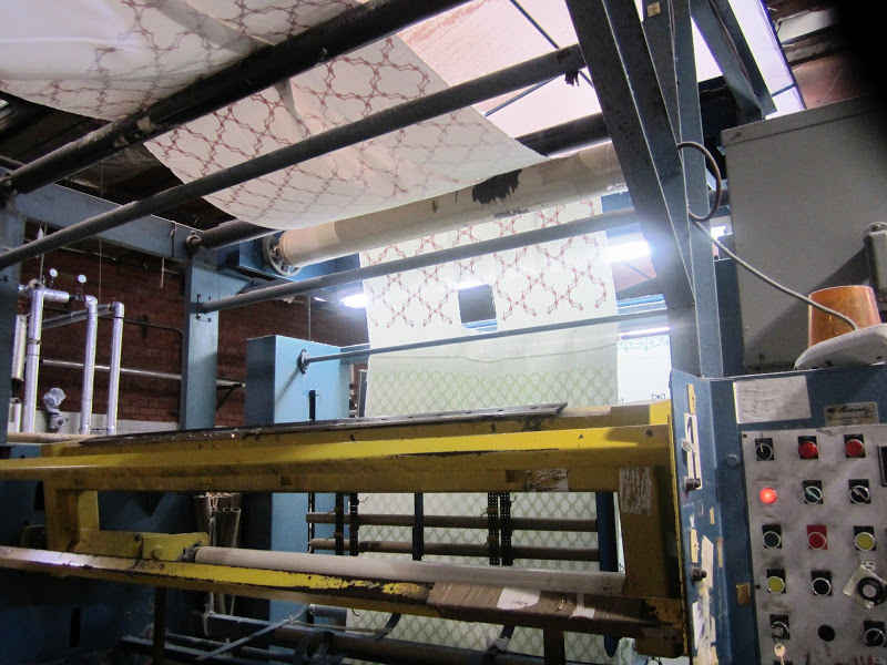 COCOCOZY fabric on a framing machine in a print house