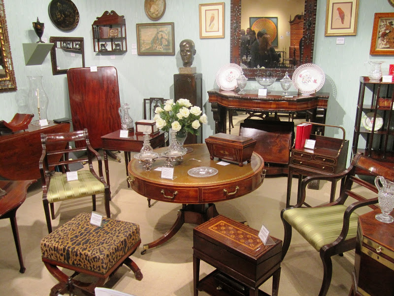 Antique furniture at the Young Collector's Night at the Winter Antiques Show