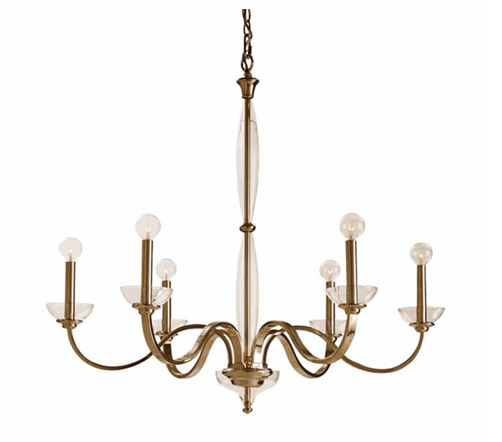 Polished nickle chandelier with glass accents from Plantation Designs