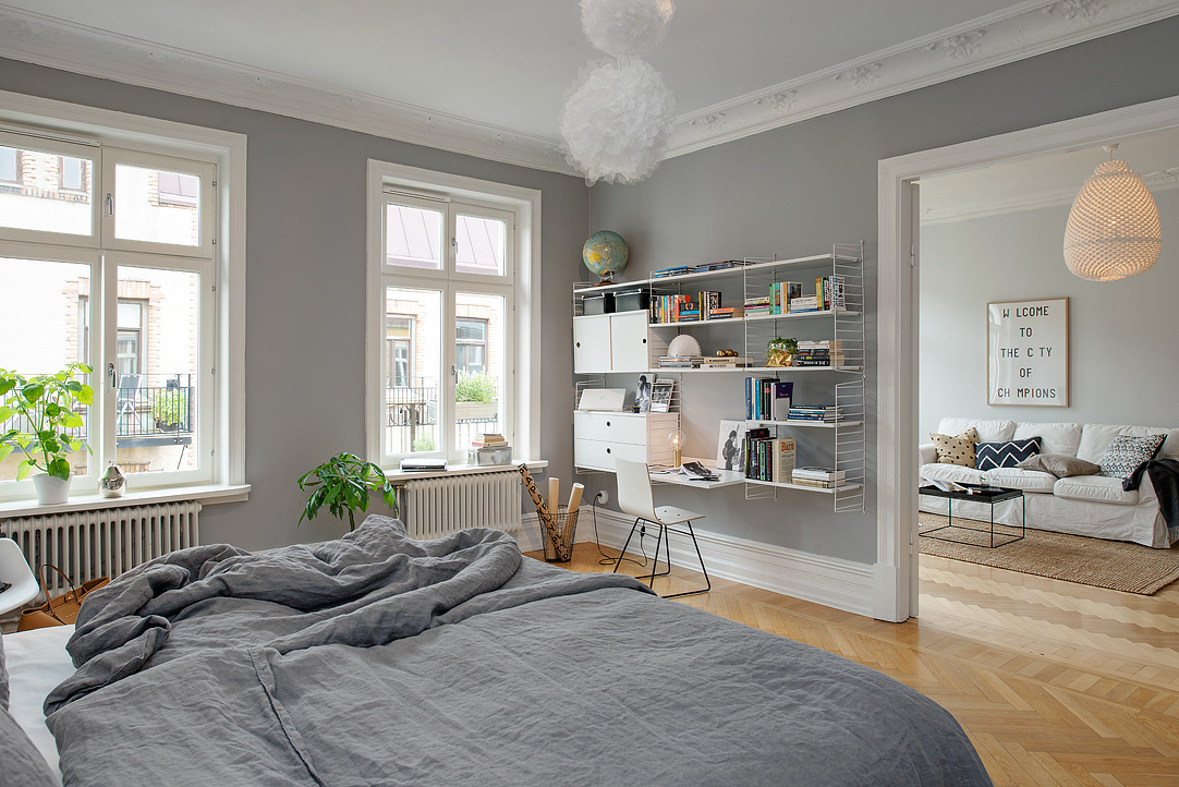 Grey bedroom walls are just perfect coco lapine designcoco lapine design - Scheiding cuisine salon ...