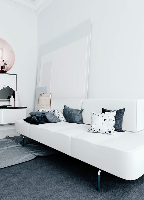 3D living room in the perfect tints - via cocolapinedesign.com