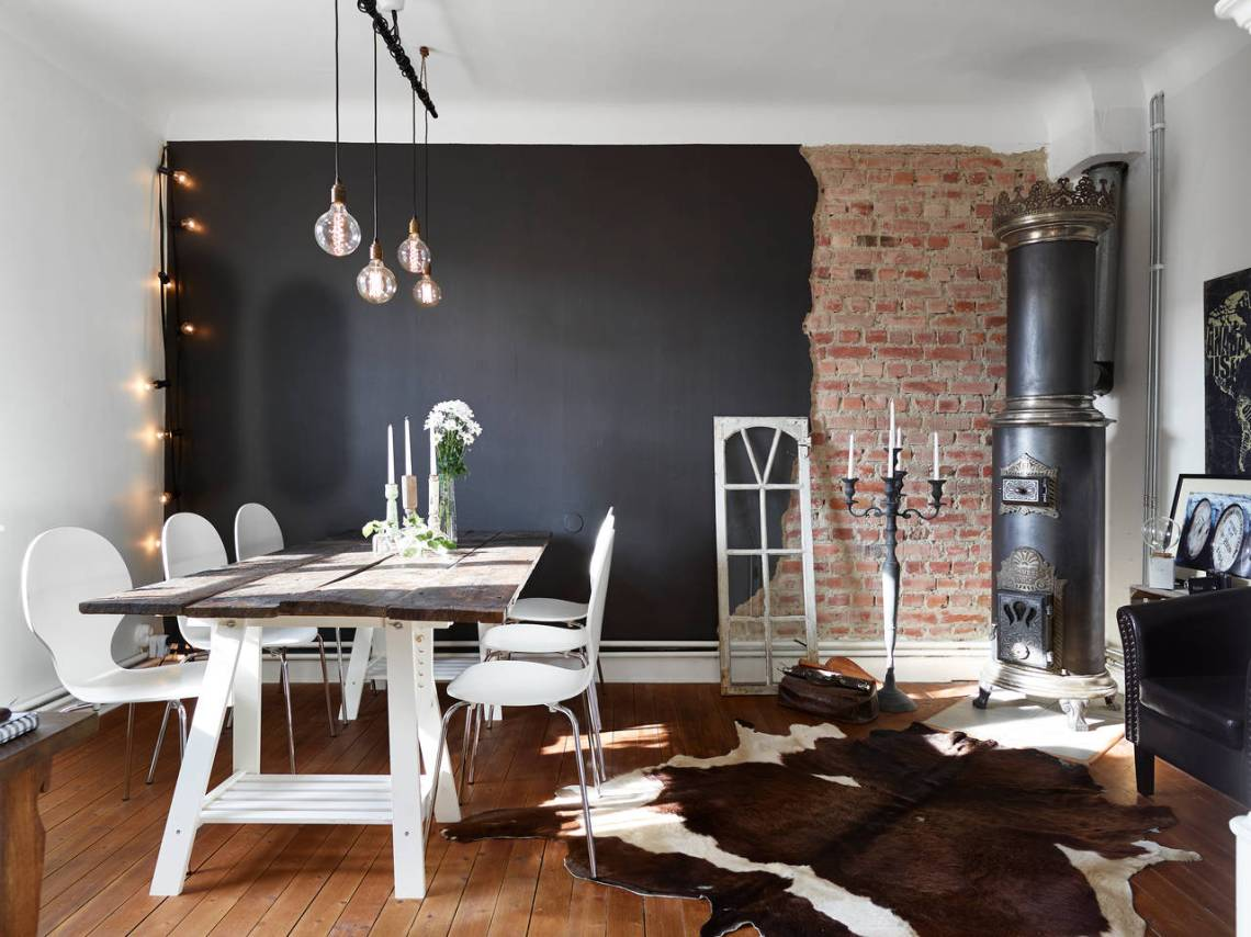 half brick half black wall in a swedish living room coco lapine designcoco lapine design. Black Bedroom Furniture Sets. Home Design Ideas