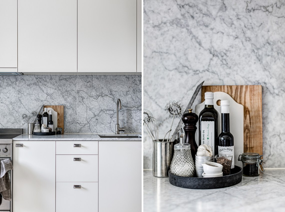 Marble kitchen and artwork - via cocolapinedesign.com
