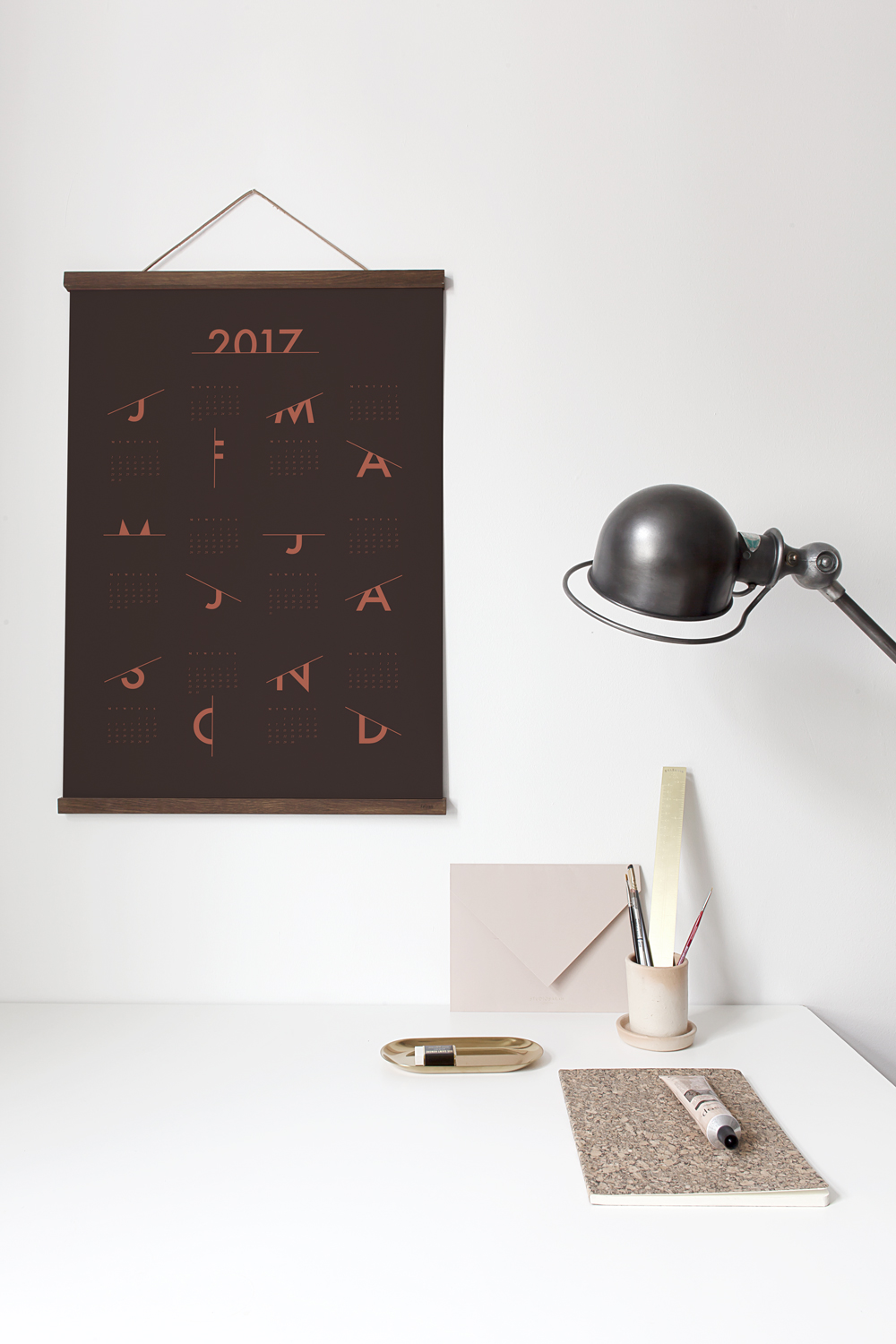 Scratched Calendar 2017 in terracotta by Coco Lapine