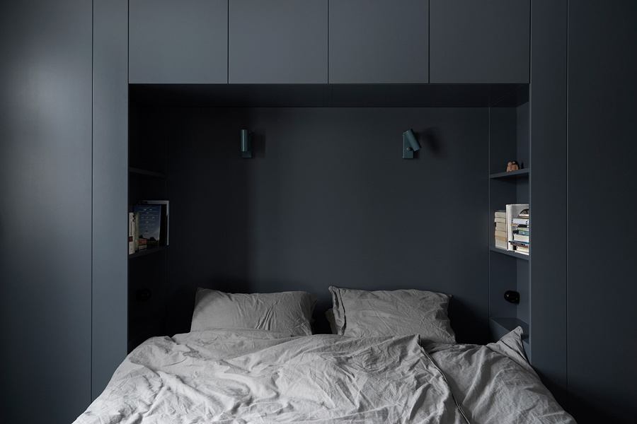 A home in grey, blue and wood - via Coco Lapine Design blog