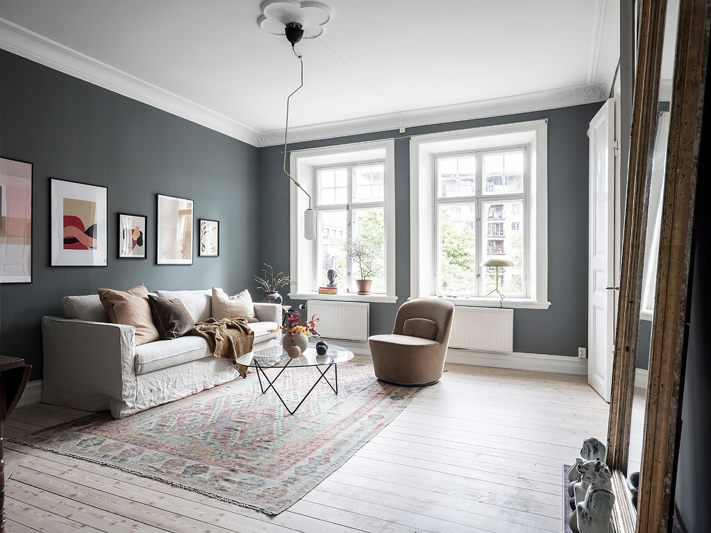 Home with dusty blue and beige walls