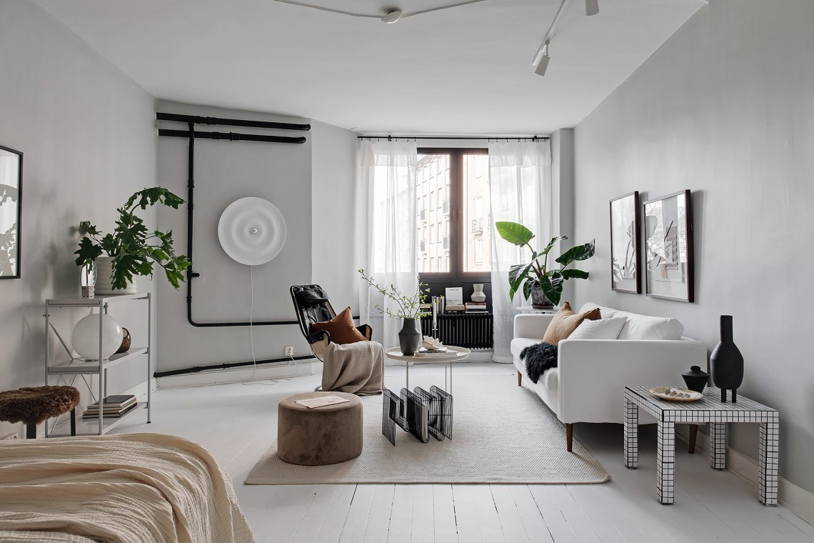 White and grey home with black accents