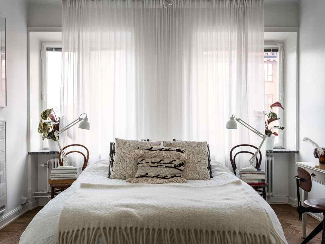 Bedroom in a light palette