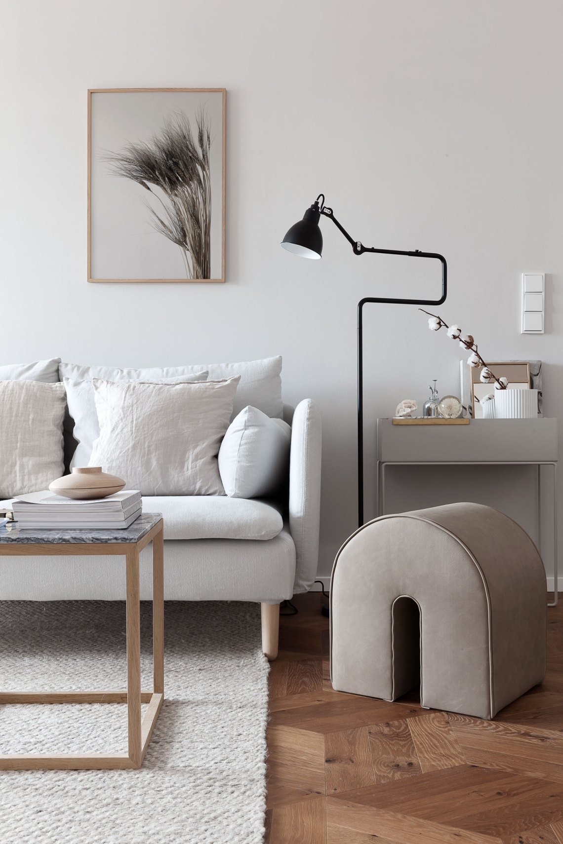 Beige and grey color palette in my living room