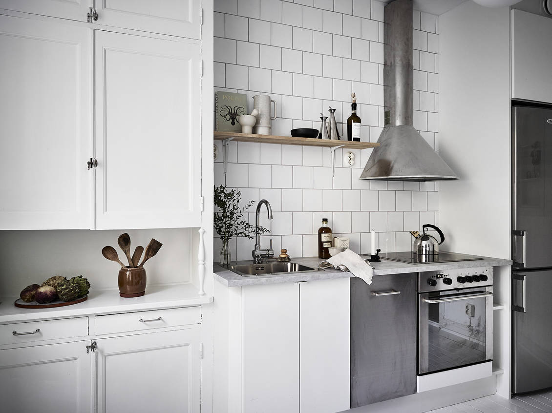 Old and new white kitchen