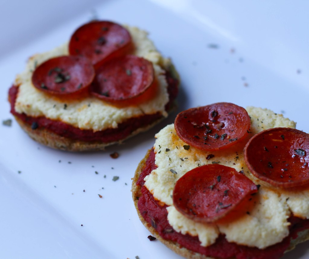 Coconut Contentment - Paleo English Muffins with Applegate Mini Pepperonis.