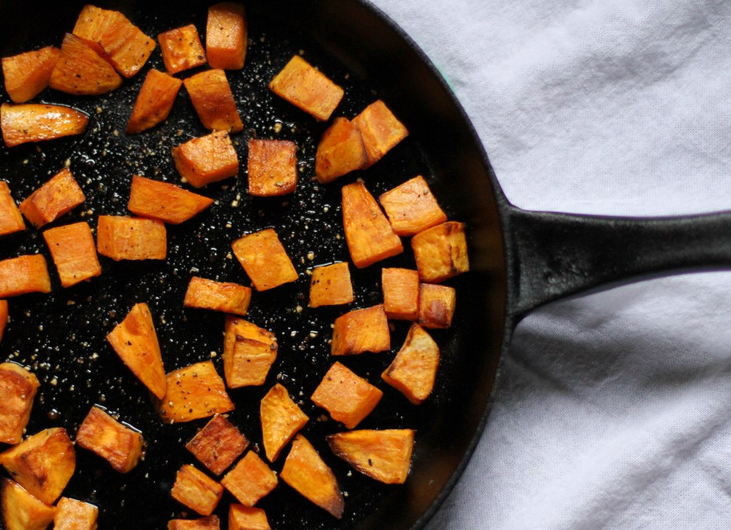 Simple Cast Iron Roasted Sweet Potatoes -- Coconut Contentment (Paleo, Gluten-free)