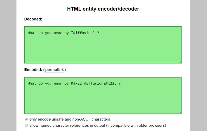 convert string containing special characters to corresponding HTML entities