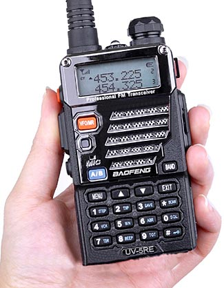 The Baofeng UV-5R series of radios - our recommended best choice.