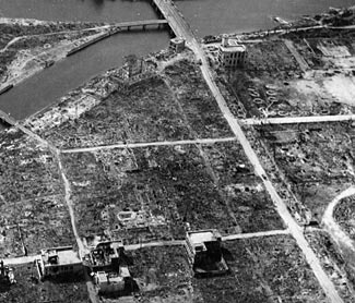 The effects of the bomb at Hiroshima were greatly magnified by the flimsy construction methods used in the city.  The few buildings constructed to western standards proved comparatively robust.