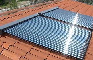 Using solar water heating brings two benefits - greater efficiency and an easy way to store energy as hot water for later use when the sun goes down.