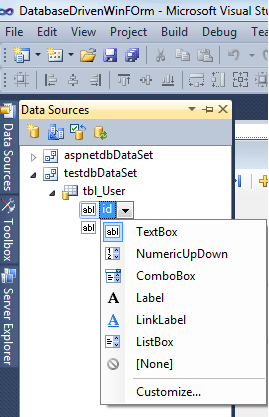 Adding database table field to desktop form application window