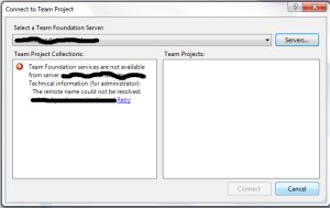 Connect To Team Project Dialogue