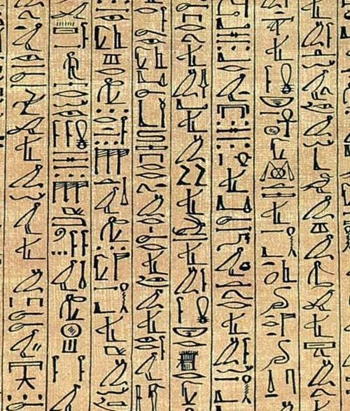 Sección del Papiro de Ani escrita en jeroglíficos cursivos.