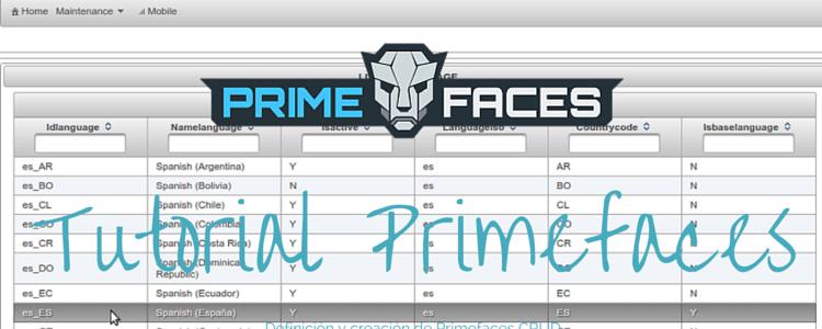Tutorial Primefaces 1 Definición del proyecto y creación de Primefaces CRUD
