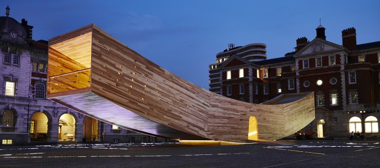 The Smile by Alison Brooks Architects, engineered by Arup Supported by AHEC, Arup, Züblin Timber, Seam, Atrium, London Design Week 2016