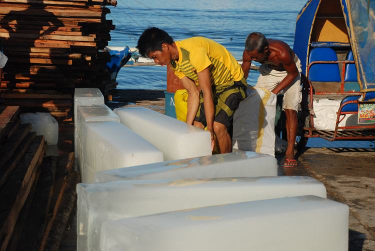 Blocks of ice, port, Philippines