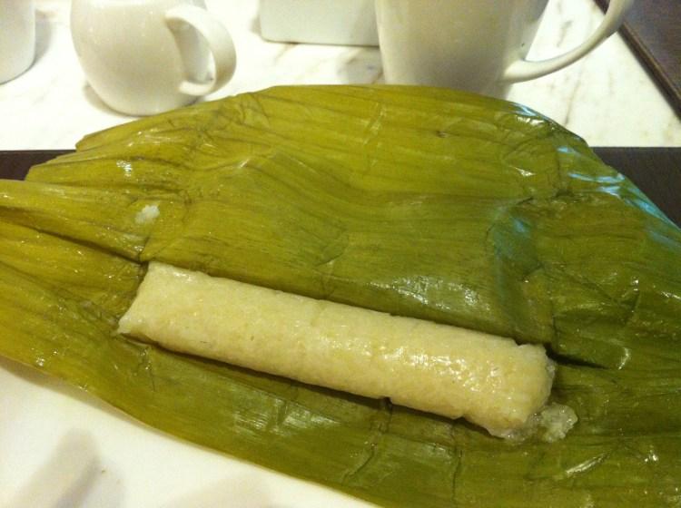 Sticky rice in banana leaf