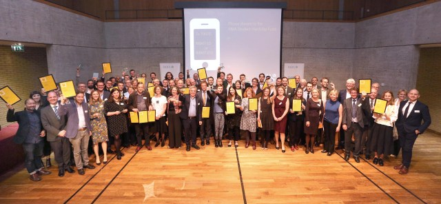 Award winners pictured at the RIBA East 2017 Awards Evening held at Fitzwilliam College, Cambridge. Photo credit: Richard Marsham