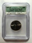 200-P New York quarter with Daniel Carr's autograph on ICG label