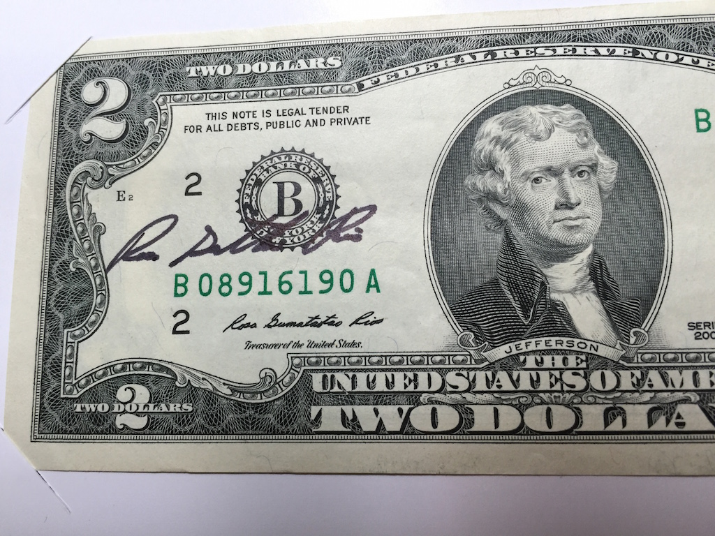 Series 2009 Federal Reserve Note autographed by Treasurer of the U.S. Rosa Gumataotao Rios